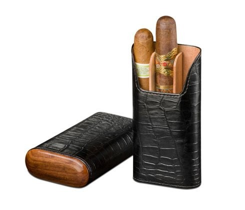 Little Havana Cigar Factory - Brizard and Co. Showband 3 Cigar Case Croco Black