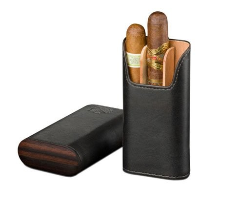 Little Havana Cigar Factory - Brizard and Co. Showband 3 Cigar Case Sunrise Black Ebony
