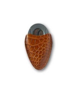 Little Havana Cigar Factory - Tampa Fuego Genuine Alligator Cigar Cutter Case Cognac