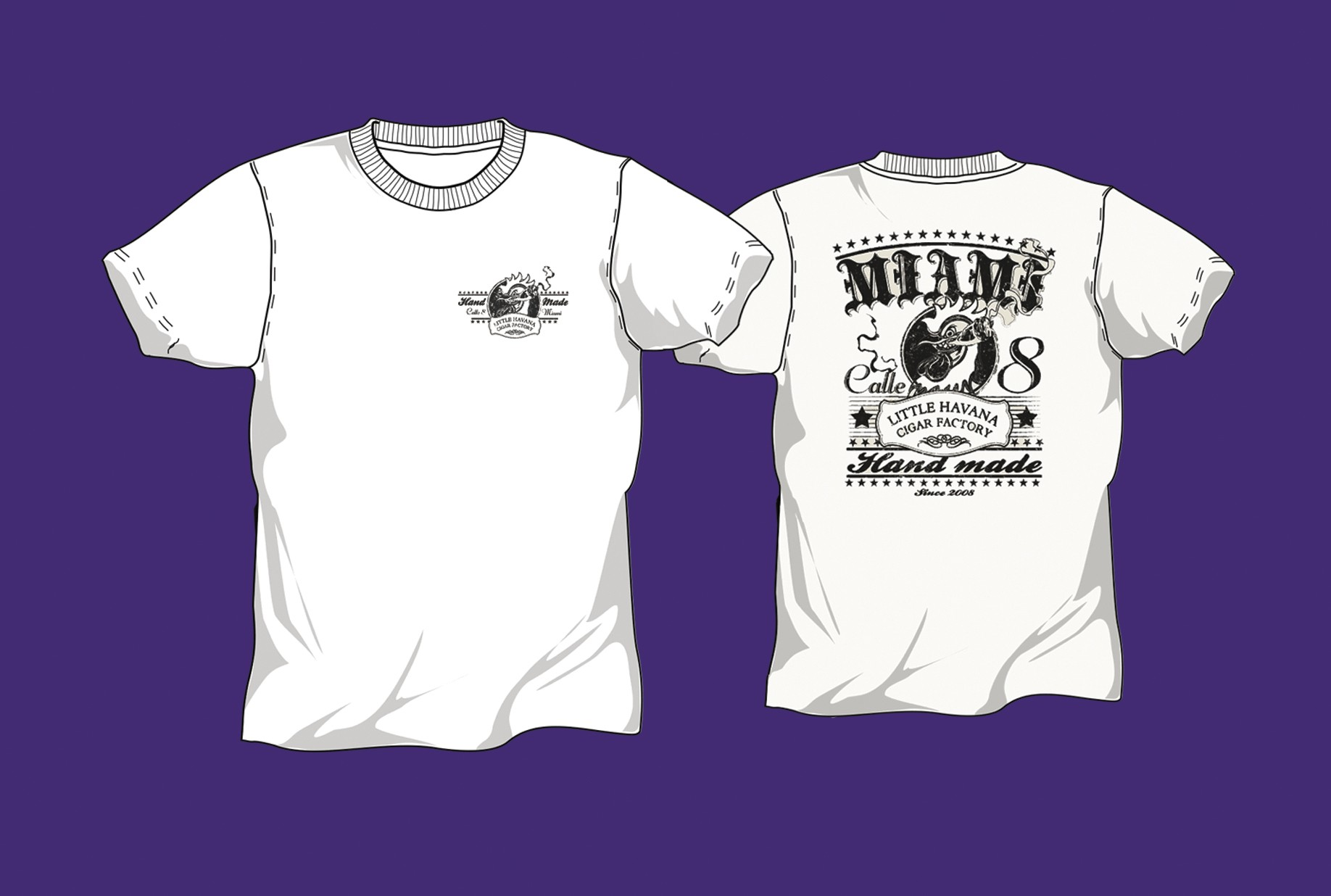 Little Havana Cigar Factory - Gallo White T-Shirt
