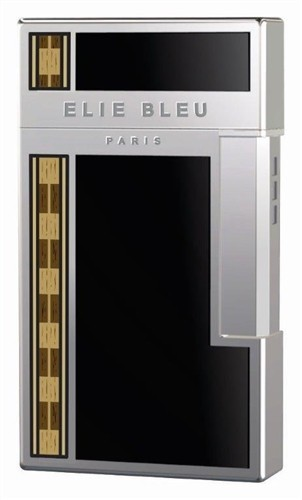 Little Havana Cigar Factory - Elie Bleu J-14 Diamond Covered Jet Flame Lighter Black Lacquer & Alba Marquetry